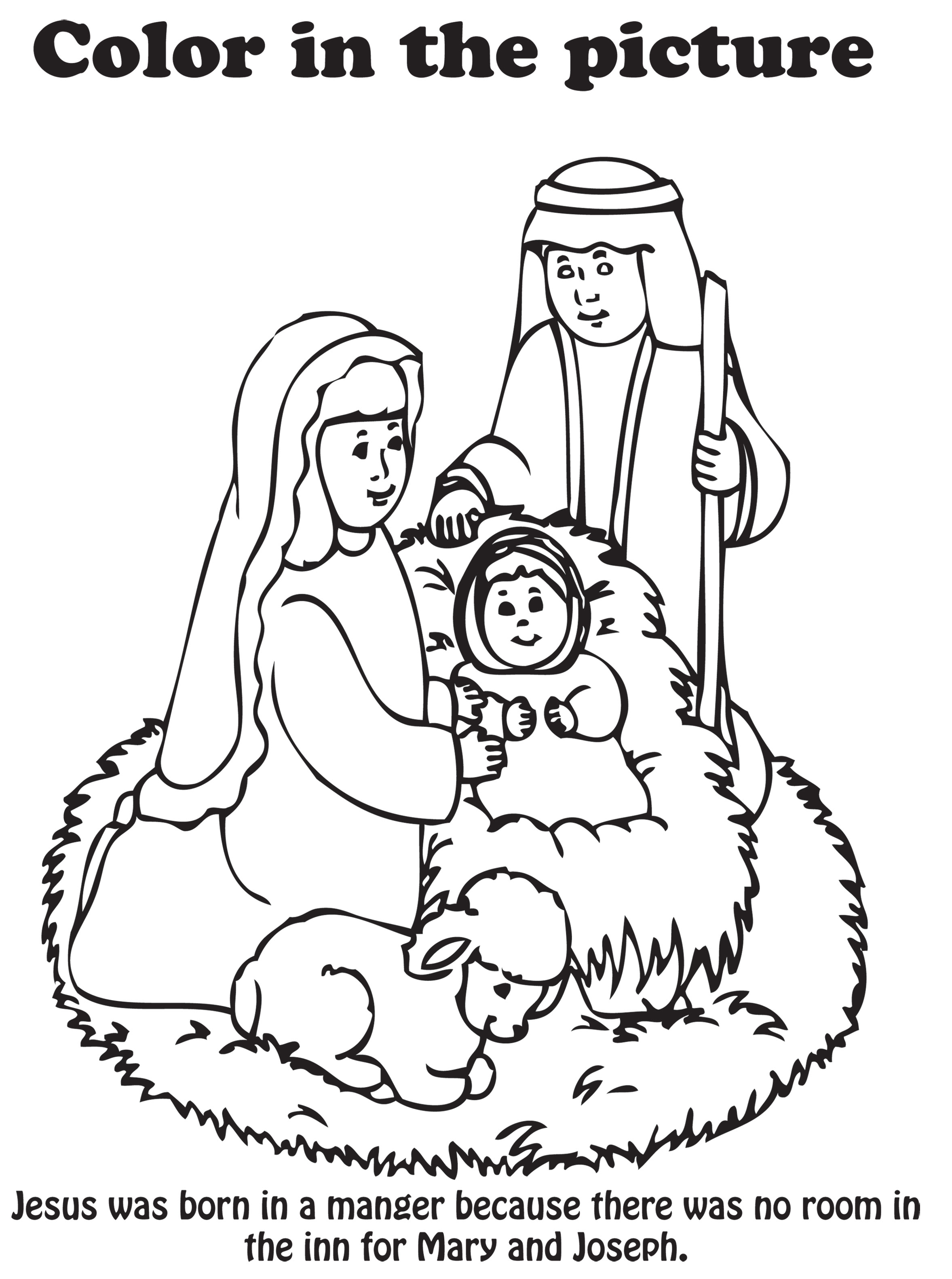 Nativity coloring page printable for Nativity scene coloring pages printable